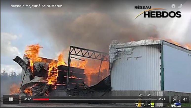 Juin 2010 - Incendie majeur chez les productions MATRA à St-Martin de Beauce dans SUR LA LIGNE DU FEU incendie-matra